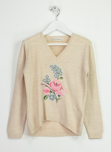 Asymmetry Çiçek Nakışlı Kazak Bej